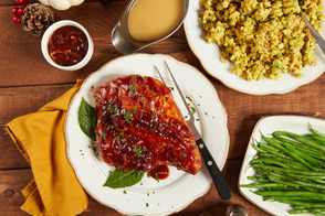 Cranberry-Glazed Turkey Breast with Stuffing