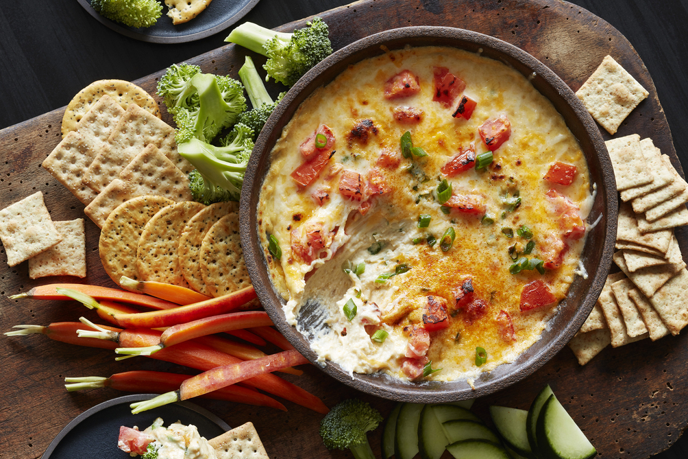 Tomato Topped Cheese & Bean Dip
