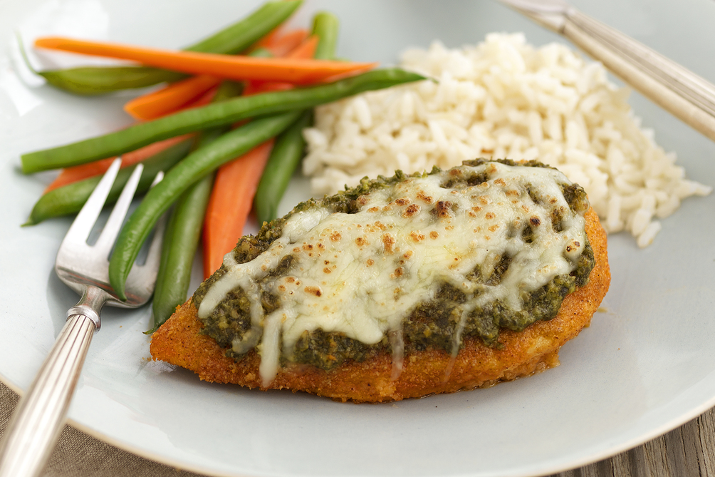 Crispy Baked Pesto Chicken