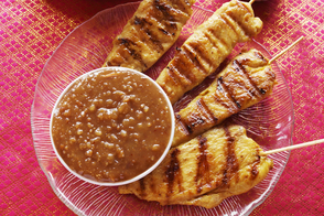 Grilled Chicken Satays with Soy-Peanut Sauce