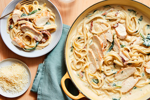 One-Pot Creamy Chicken Tuscan Pasta.