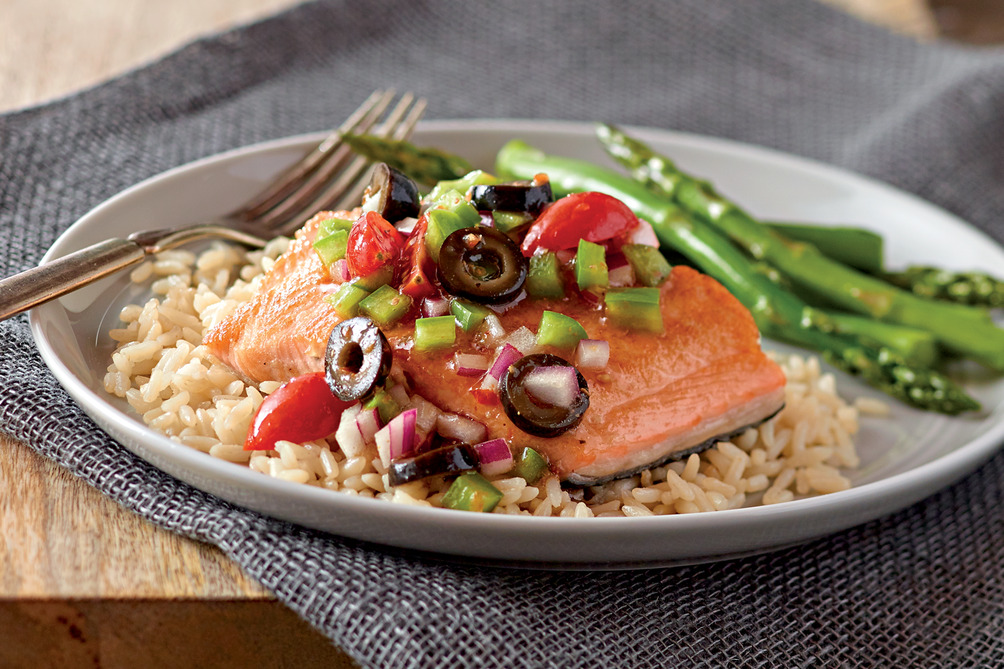Baked Salmon with Black Olive Salsa