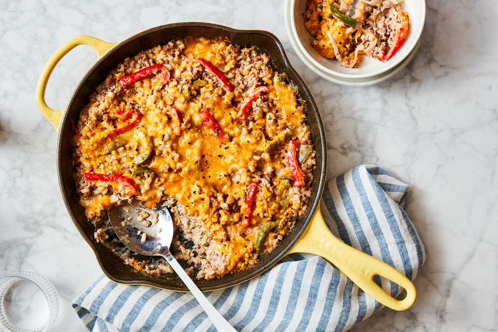 Cheesy Beef and Cauliflower Rice Skillet